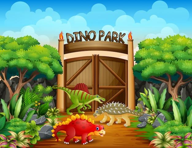Różni Dinozaury W Dino Parku Ilustrują Premium Wektorów