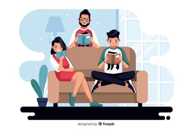 Różni ludzie czytający razem Darmowych Wektorów