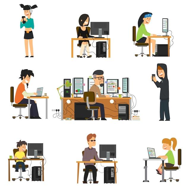 Różni Ludzie Pracują I Bawią Się Dla Różnych Elektronicznych Gadżetów. Premium Wektorów