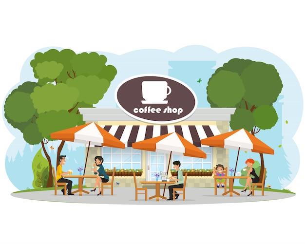 Różni Ludzie Relaksuje W Kawiarni W Parku Miejskim. Premium Wektorów