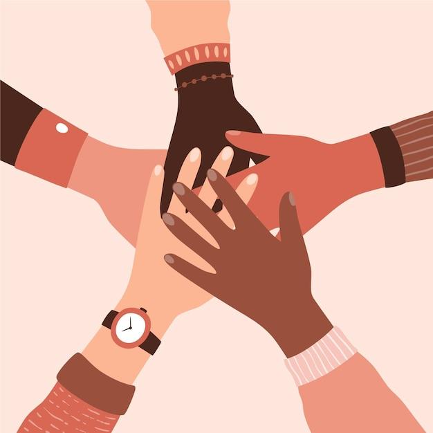 Różni Ludzie Trzymający Się Za Ręce W Ruchu Zatrzymania Rasizmu Premium Wektorów