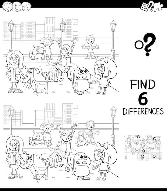 Różnice Gra Edukacyjna Dla Dzieci Premium Wektorów