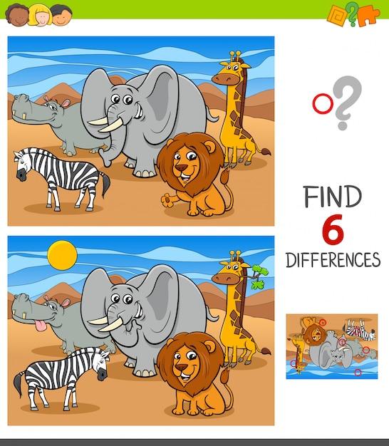 Różnice Gra Z Afrykańskimi Postaciami Zwierząt Premium Wektorów