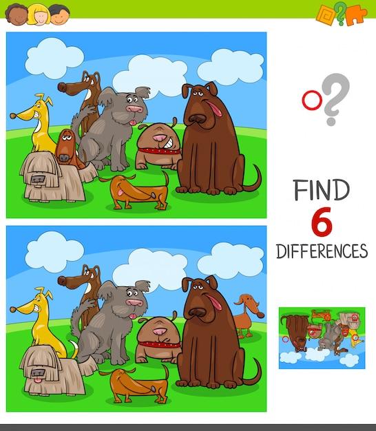 Różnice gra z psami postaci zwierząt Premium Wektorów