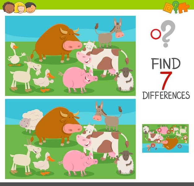 Różnice W Grze Dla Dzieci Ze Zwierzętami Hodowlanymi Premium Wektorów