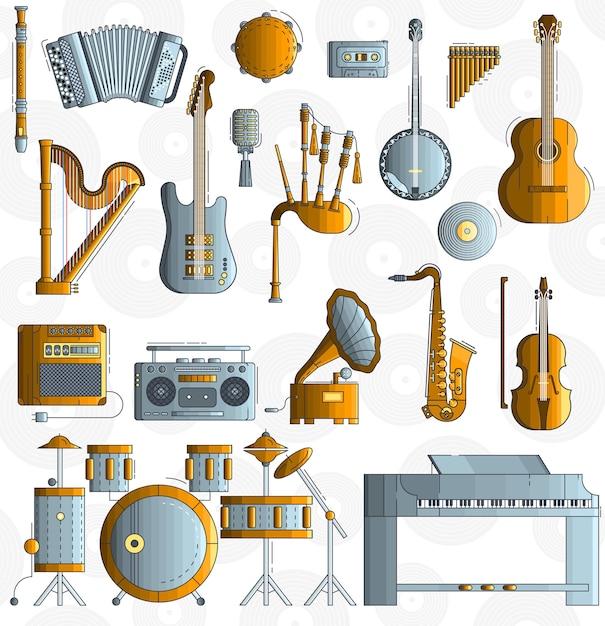 Różnorodne Instrumenty Muzyczne I Sprzęt Do Gry Premium Wektorów
