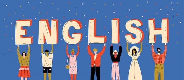 Różnorodni Ludzie Trzyma Listy Formułują Angielszczyzny. Ucz Się Języka Obcego Premium Wektorów