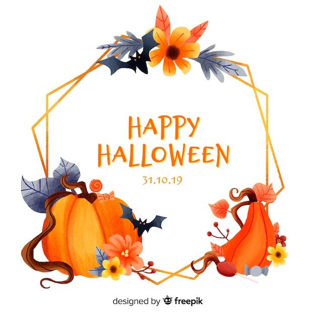 Różnorodność dyni i nietoperzy akwarela halloween ramki Darmowych Wektorów