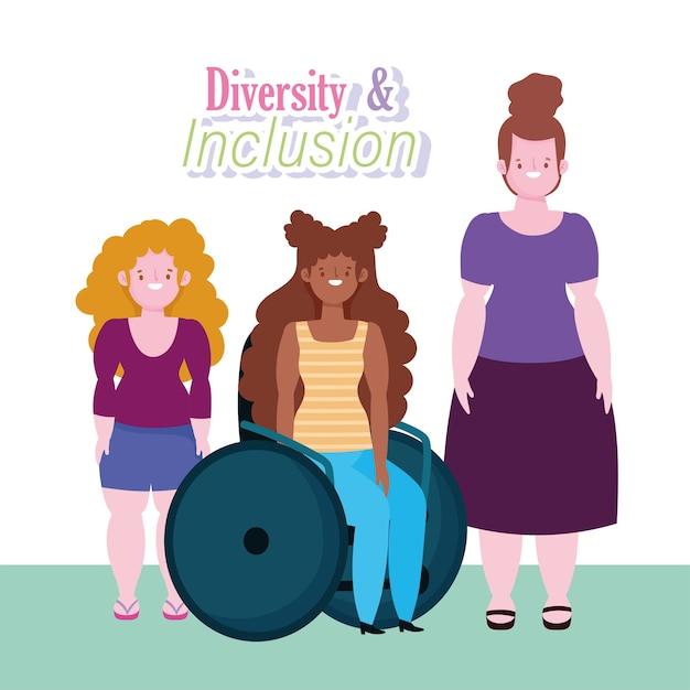 Różnorodność I Integracja, Afroamerykańska Kobieta Na Wózku Inwalidzkim I Kreskówki Niskiego Wzrostu Premium Wektorów