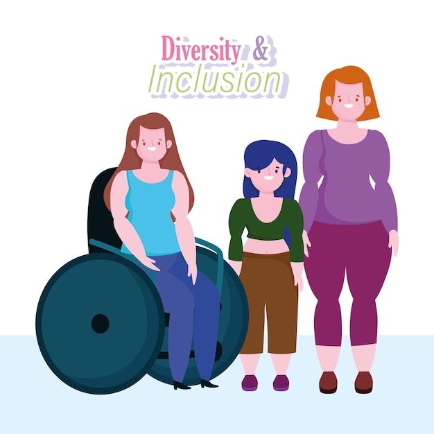 Różnorodność I Integracja, Kobieta Na Wózku Inwalidzkim, Dziewczyna Niskiego Wzrostu I Dziewczyna O Krętym Ciele Premium Wektorów