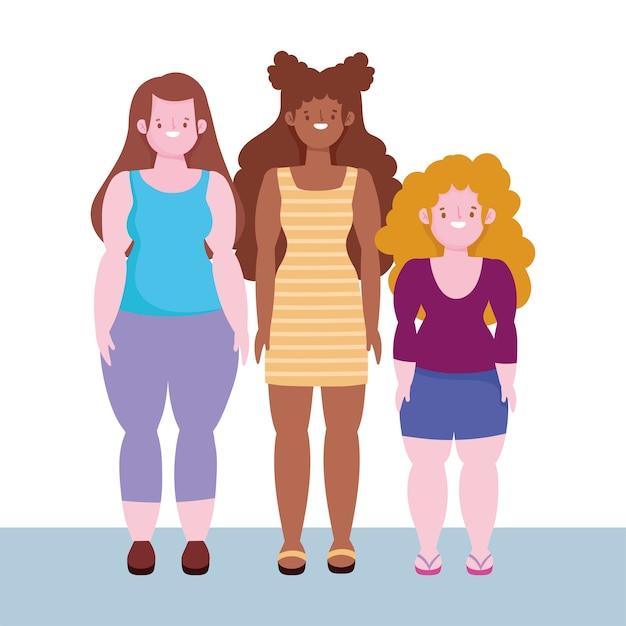 Różnorodność I Integracja, Kobiety Niskie, Wysokie I Kobiety O Krągłym Ciele Premium Wektorów