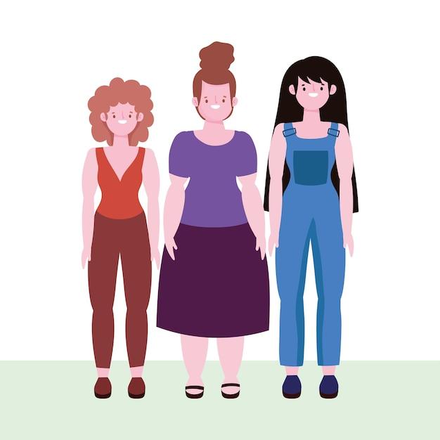 Różnorodność I Integracja, Szczęśliwe Kobiety O Różnym Wzroście I Rozmiarze Premium Wektorów