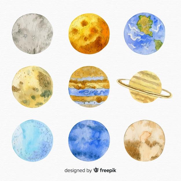 Różnorodność kolekcji planet akwarela Darmowych Wektorów