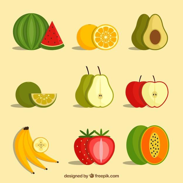 Różnorodność owoców w płaskim deseniu Darmowych Wektorów