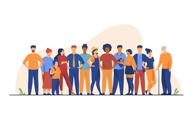 Różnorodny Tłum Ludzi W Różnym Wieku I Różnych Ras Darmowych Wektorów