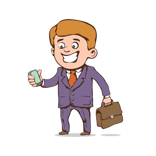 Rozochocony Biznesmen Z Telefonem Komórkowym Premium Wektorów