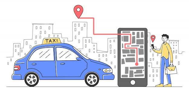 Rozochocony Mężczyzna Bierze Taksówkę Przez Mobilnej App Ilustraci Premium Wektorów