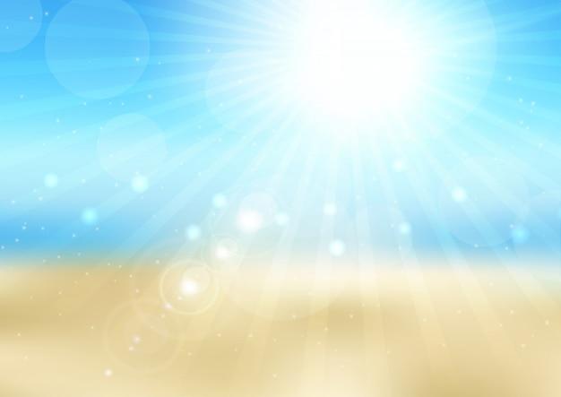 Rozogniskowana scena na słonecznej plaży Darmowych Wektorów