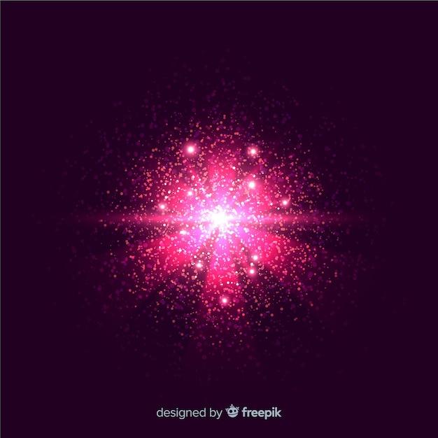 Różowa cząsteczka wybuchu efekt na czarnym tle Darmowych Wektorów