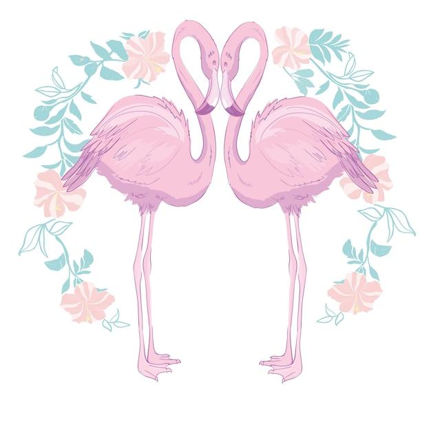 Różowa Flamingo Ilustracji Wektorowych Premium Wektorów