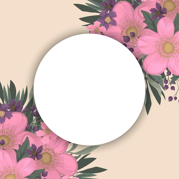 Różowa i fioletowa ramka w kwiaty Darmowych Wektorów