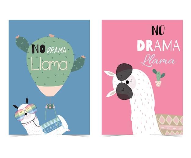 Różowa i niebieska ręka rysująca śliczna karta z żadny dramat lamy Premium Wektorów