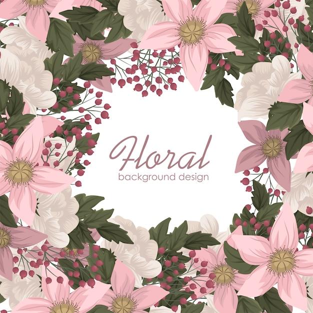 Różowa kwiat ilustracyjna kwiecista rama Darmowych Wektorów