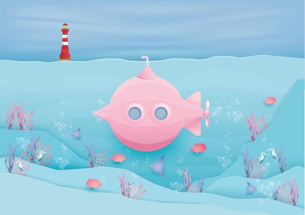 Różowa łódź Podwodna Z Wieloma Rybkami W Pastelowym Stylu. Premium Wektorów