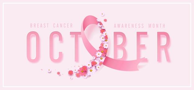 Różowa Wstążka I Kwiat W Październiku świadomości Raka Piersi Premium Wektorów