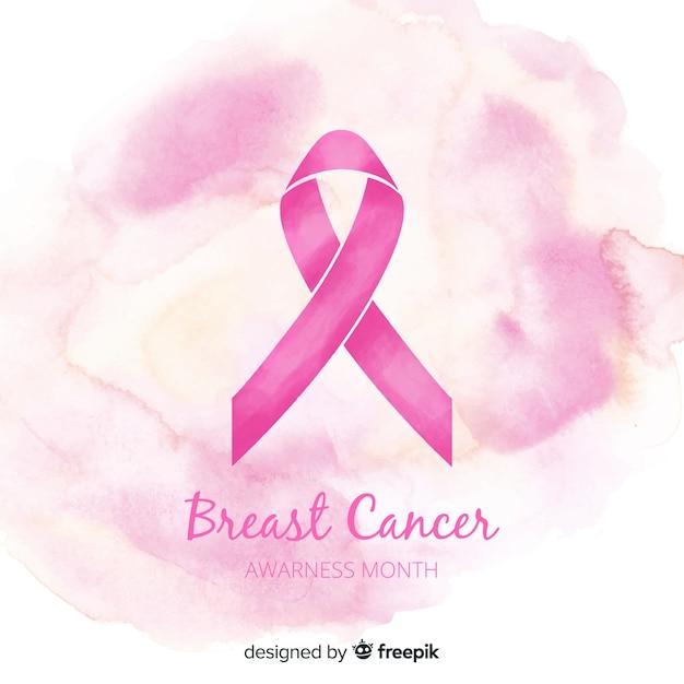 Różowa wstążka świadomości raka piersi w stylu przypominającym akwarele Darmowych Wektorów