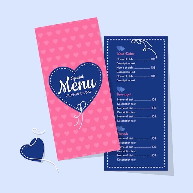 Różowe I Niebieskie Menu Walentynkowe Restauracji Darmowych Wektorów