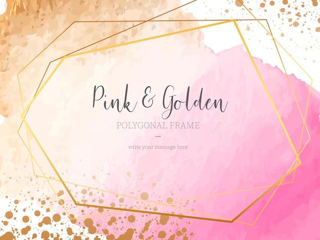 Różowe i złote tło z wieloboczną ramką Darmowych Wektorów