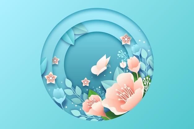 Różowe Kwiaty Wiosna Tło W Stylu Papieru Darmowych Wektorów