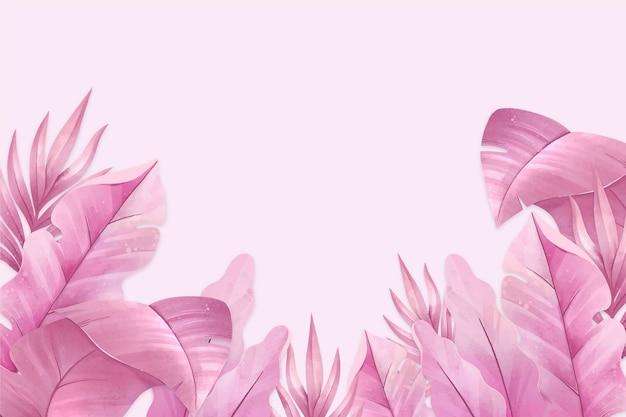 Różowe Liście Tropikalny Tło Darmowych Wektorów