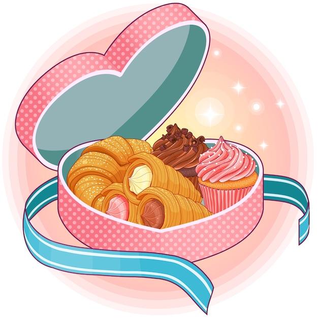Różowe Pudełko W Kształcie Serca Ze Słodyczami Premium Wektorów