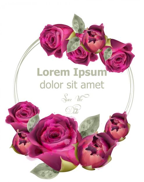 Różowe Róże Akwarela Szablon Karty Premium Wektorów