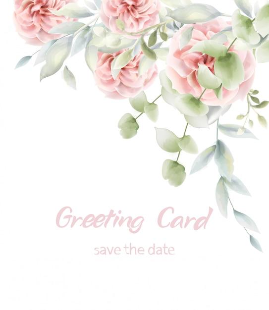 Różowe Róże Karta Kwiatowy Akwarela. Rustykalny Plakat Prowansji Premium Wektorów