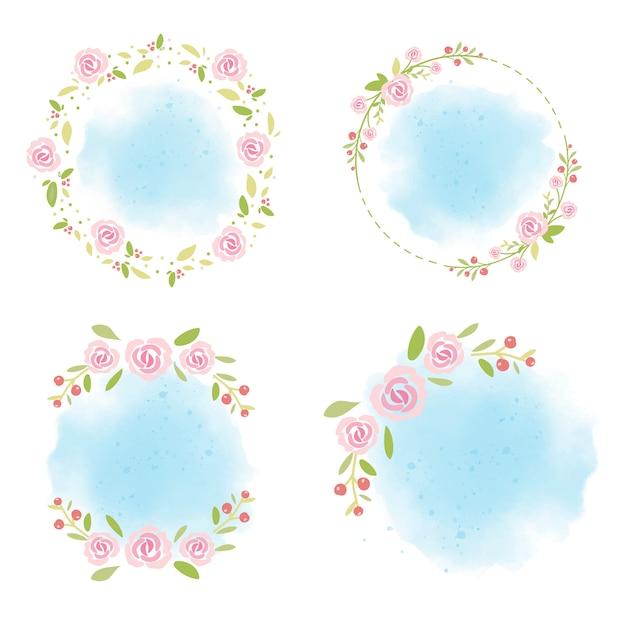 Różowe róże wieniec na niebieskim tle akwarela kolekcja na lato Premium Wektorów
