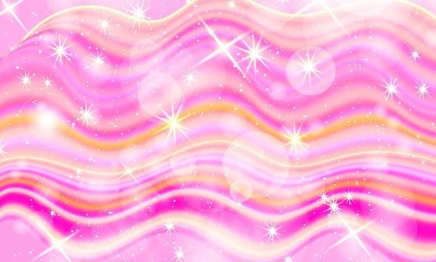 Różowe Tło Płynu. Gwiazdy Holograficzne. Premium Wektorów