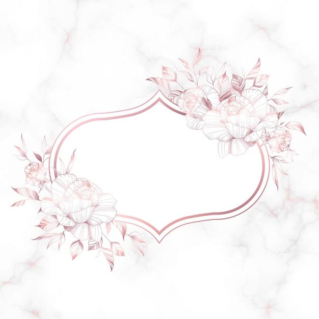Różowe Złoto Rama Z Kwiatem Róży Na Tle Marmuru. Darmowych Wektorów