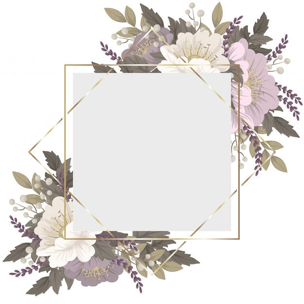 Różowo-biała Kwiecista Obwódka Darmowych Wektorów
