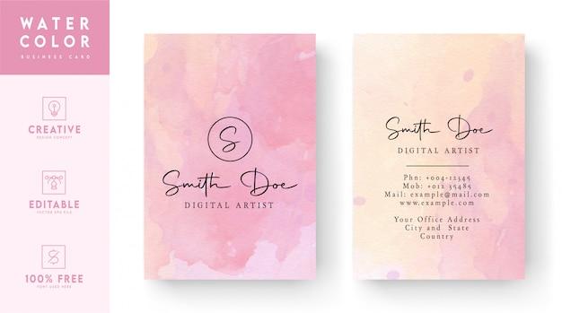 Różowy Akwarela Wizytówki Szablon Premium Wektorów