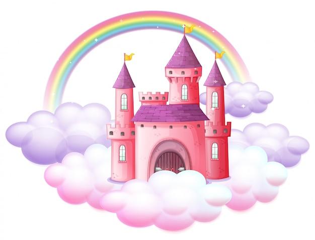 Różowy bajkowy zamek Premium Wektorów