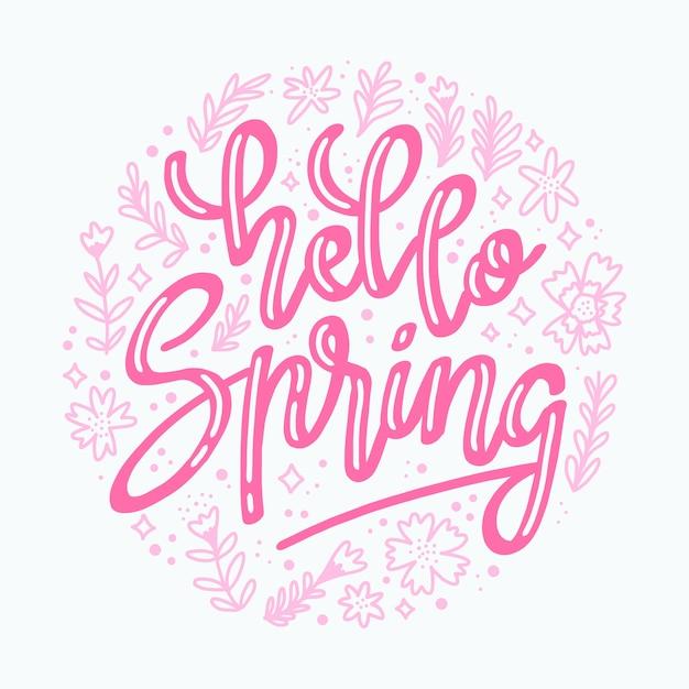 Różowy Cześć Wiosna Napis Darmowych Wektorów