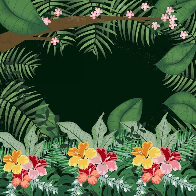 Różowy i brzoskwiniowy kwiat w tropikalnej dżungli Premium Wektorów