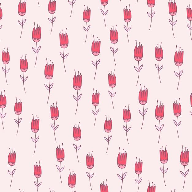 Różowy Kontur Tulipan Kwiat Wzór. Kwiatowy Ornament Z Fioletowym Konturem Na Białym Tle. Do Tapet, Tekstyliów, Papieru Do Pakowania, Druku Na Tkaninach. Ilustracja. Premium Wektorów