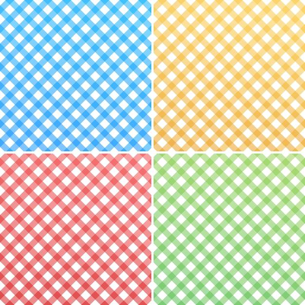 Różowy, Niebieski, Zielony, żółty I Biały Bawełniany Materiał W Kratkę Premium Wektorów