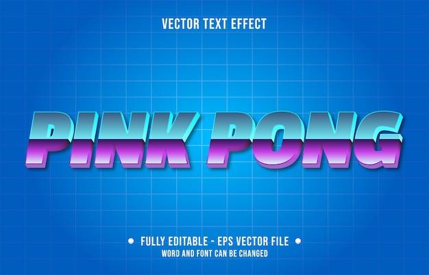 Różowy Pong Retro Styl Gradientu Edytowalny Szablon Efektu Tekstowego Premium Wektorów