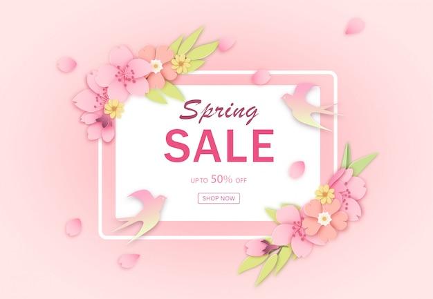 Różowy rabatowy wiosna sprzedaży sztandaru szablon Premium Wektorów