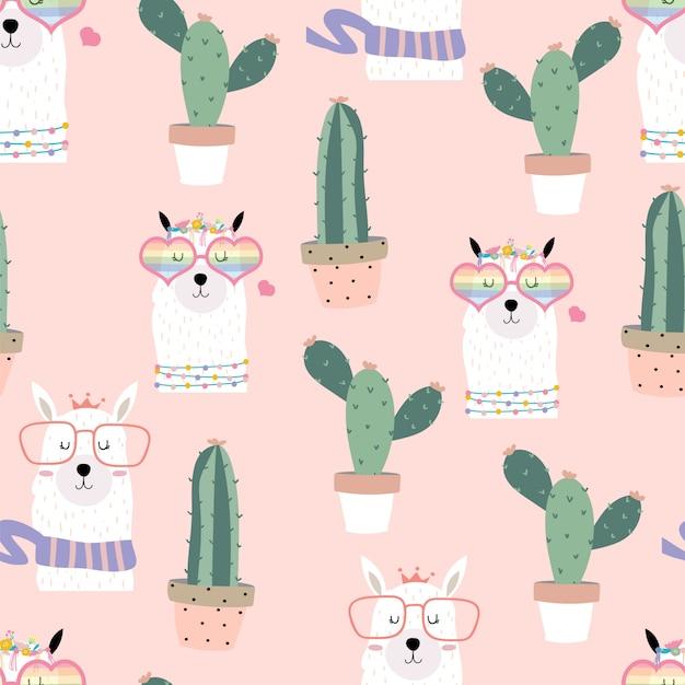 Różowy ręcznie rysowane ładny wzór z lamy, okulary serca, kaktus w lecie Premium Wektorów